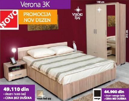 Spavaća soba VERONA 3K hrast-bež