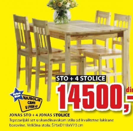 Trpezarijski sto i stolice Jonas