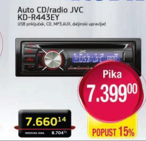 Auto CD/radio KD-R443EY
