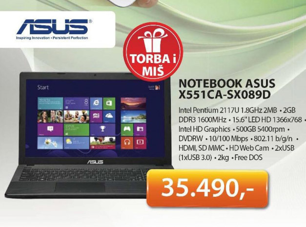 Notebook X551CA-SX089D + poklon Torba i Miš