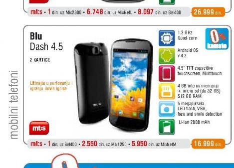 Mobilni telefon Dash 4.5 Black