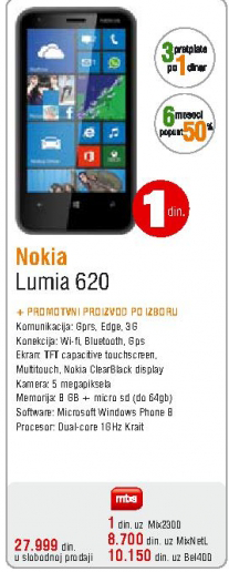 Telefon mobilni Lumia 620