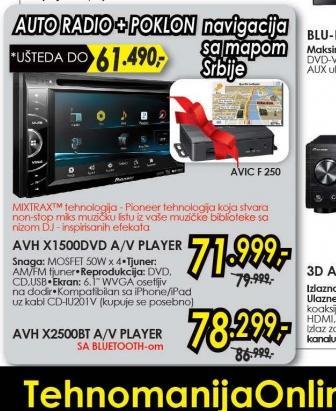 Autoradio AVH-X1500DVD