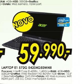 Laptop Aspire E1-572G-54204G75Mnkk
