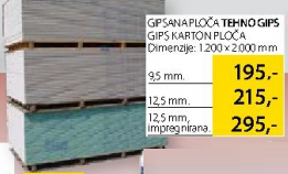 Gipsana ploča Tehnogips, 12,5mm