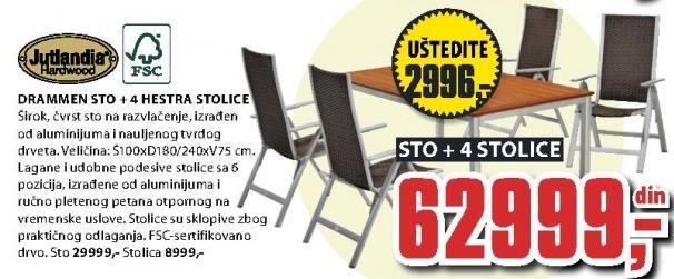 Baštenski sto Drammen sa 4 Hestra stolice Jutlandia