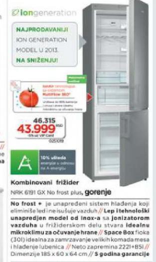 Kombinovani Frižider NRK 6191 GX