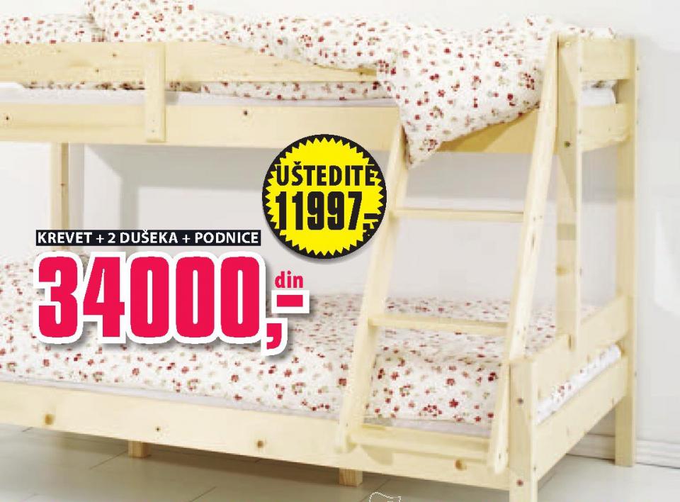 Krevet na sprat Sandra+ 2 dušeka F30 i podnice