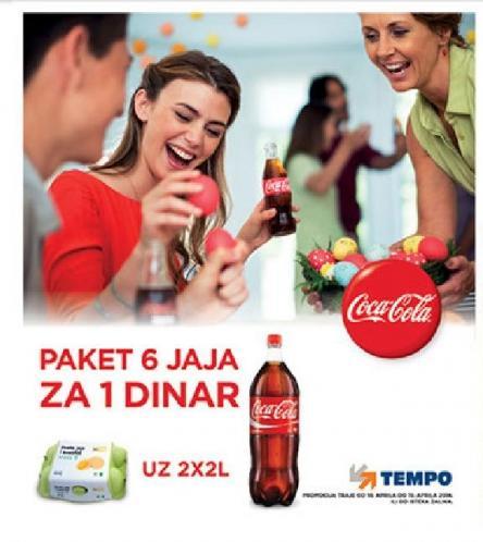 Paket 6 jaja za 1 dinar uz kupovinu 2x2l Coca Cola soka