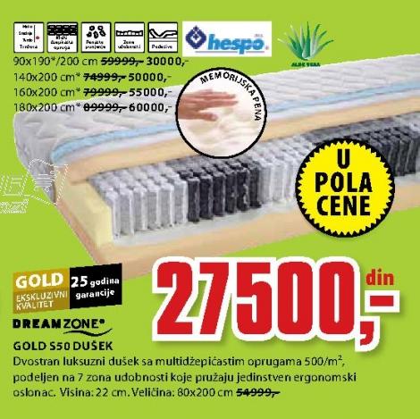 Dušek, GOLD S50 180X200CM