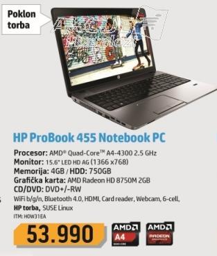 Laptop ProBook 455 H0W31EA + Poklon torba