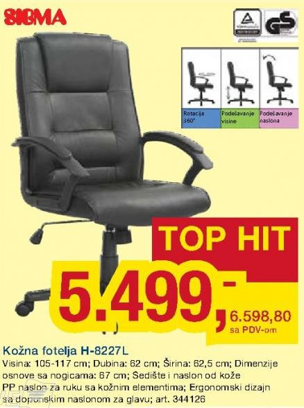 Kožna fotelja H-8227l