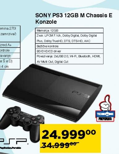 Playstation 3 12GB M chassis E konzole