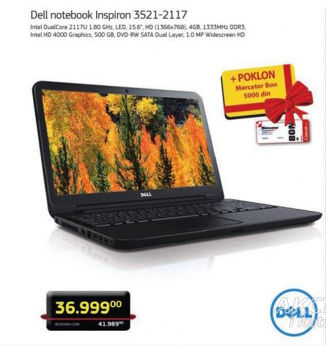 Notebook Dell Inspirion 3521-2117+Poklon Merkator bon od 5000.00 dinara