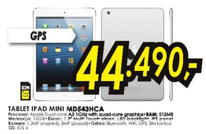 Tablet iPad Mini MD543HC/A