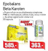 Epobalans Beta Karoten Preporučuje se za ublažavanje simptoma PMS-a i menopauze, zdravu kožu, kosu i nokte