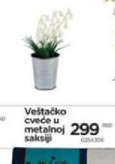 Veštačko cveće u metalnoj saksiji