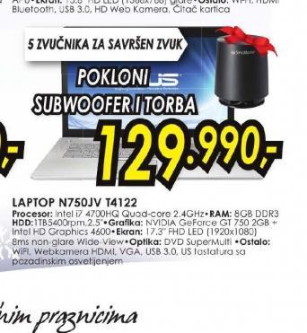 Laptop N750JV-T4122