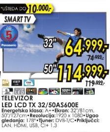 """Televizor LED 32"""" Tx 32as600e"""