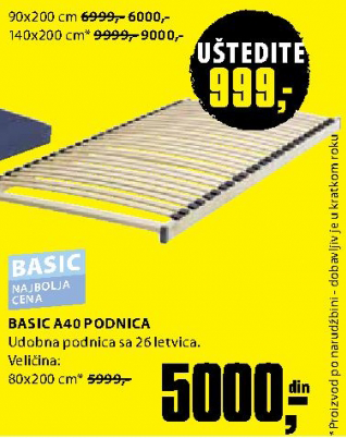 Podnica, Basic A40 80x200 cm