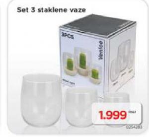 Set 3 staklene vaze