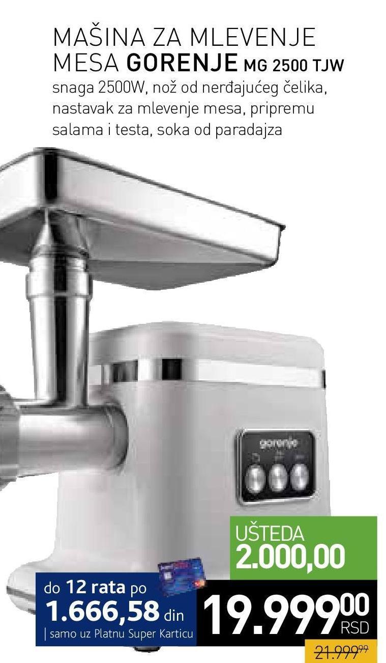 Mašina za mlevenje mesa MG  2500 TJW