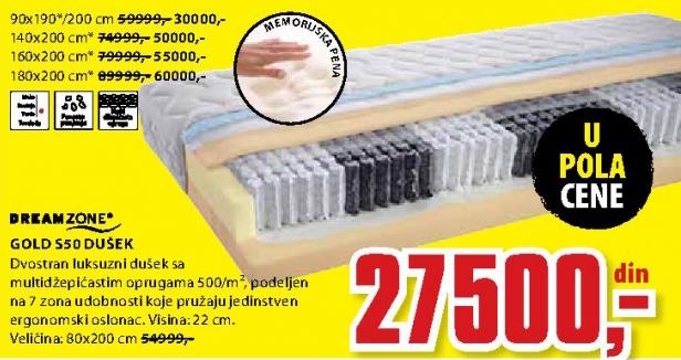 Dušek, Gold S50 80x200 cm