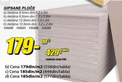 Gipsane ploče 9,5mm 2m