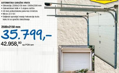 Automatska garažna vrata, 2500x2150mm