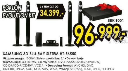 3D Blu-Ray sistem HT-F6550 Poklon Evaluation Kit Sek 1001