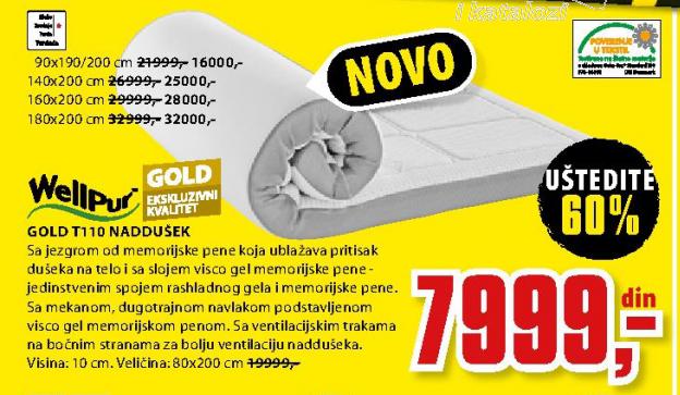 Naddušek, Gold T11 160x200 cm