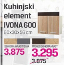 Kuhinja element Ivona 600, sonoma hrast/siva