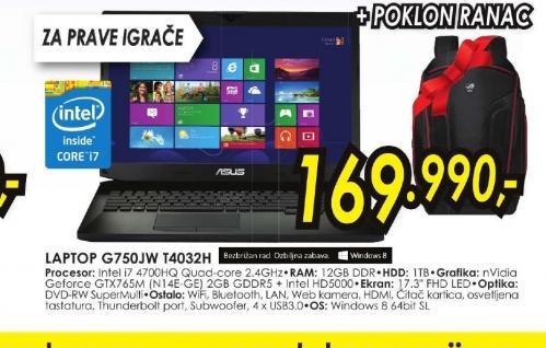 Laptop G750JW-T4032H