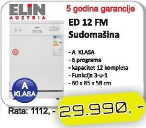 Mašina Za Pranje Posuđa ED 12 FM