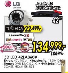 Televizor 3D LED LCD 42LA860V