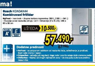 Kombinovani frižider KGN34X44