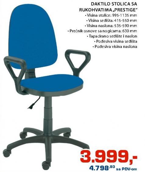 Daktilo stolica sa rukohvatima Prestige