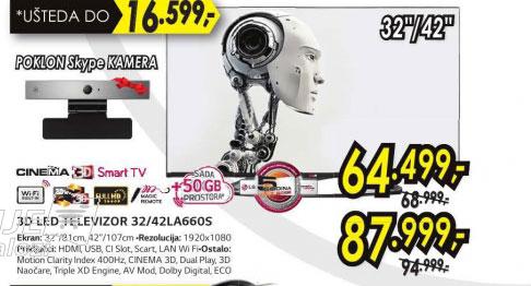 3D televizor LED LCD 32LA660S+Poklon: LG Skype kamera AN-VC500