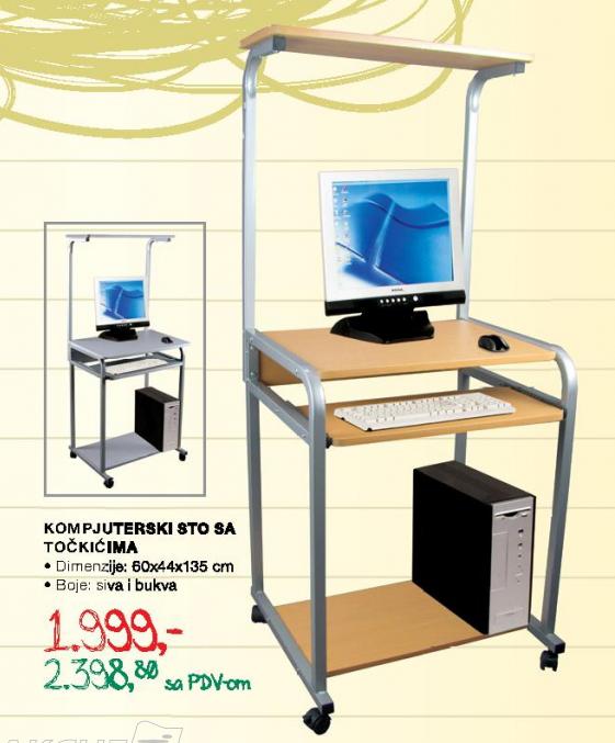 Kompjuterski sto sa točkićima