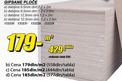 Gipsane ploče 12,5mm 2,6m