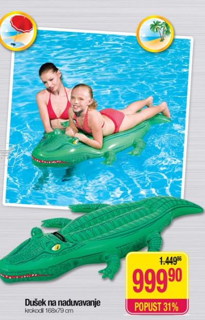 Dušek na naduvavanje krokodil