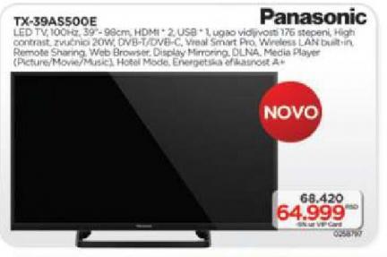 """Televizor LED 39"""" TX-39AS500E"""