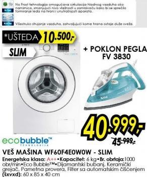 Mašina za pranje veša WF60F4E0W0W Slim