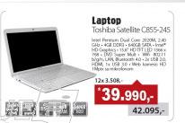 """Laptop atellite C855-245 White 15.6"""" Intel 2020M"""