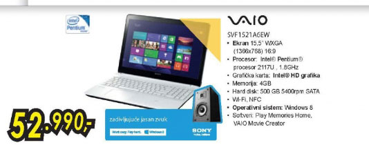 Laptop VAIO SVF1521A6EW