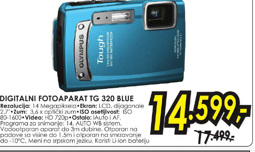 Digitlani fotoaparat TG 320 BLUE