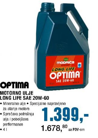 Motorno ulje Long Life Safe SAE 20W-60, Modriča