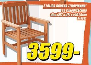 Stolica drvena sa rukohvatom Tropikana