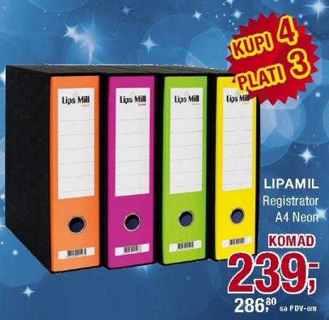 Registrator A4 Neon Lipamil