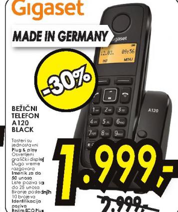 Fiksni bezicni telefon A120 BLACK GIGASET